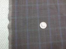 "1421. GRAY WINDOWPANE PLAID Crinkly Silky Cotton Blend Fabric - 59"" x 1+ Yd."