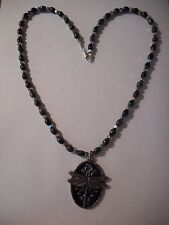 Dragonfly pendant on black serpentine gemstone bead necklace