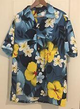 Hawaiian Print Aloha Friday Wear Tiki Lounge Casual Shirt Roundy Bay Large Blue