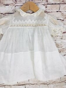 Vintage Sheer Baby Girls Dress White Embroidered Lace Large Hem Blue Satin Tie