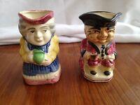 Vintage Toby Jugs Mug Hand Painted Ceramic Head Creamer Pitchers Occupied Japan