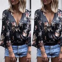 Mode Femmes Kimono Manches Longues Blouse Lâche Été V Cou Chemise Tops*BB