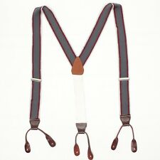 Woven Nylon Mens Braces Suspenders Gray Burgundy Chase Stripe Leather Button Tab