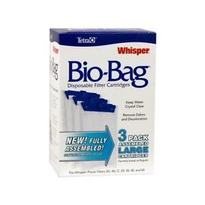 Tetra Aquarium Fish Tank Filter Cartridges Whisper Bio-Bag Large 3-Pack