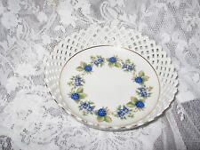 HOLLOHAZA Hungary Porcelain Round lattice Bowl Blue Berries & Blue Flowers