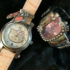 Pair of Hello Kitty watches, working Hello Kitty watches, pink watches, jeweled