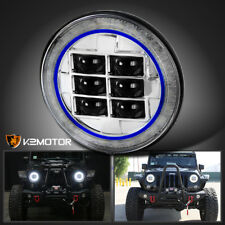 "1PC 7"" Cree LED Chrome Blue Ring Halo Projector Headlight Wrangker TJ Land Rover"