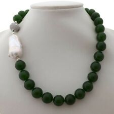 "GE061207 19"" 16MM Green Jade White Keshi Pearl Necklace"