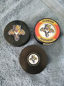 Official NHL Florida Panther Hockey Puck Set Of 3
