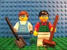 2 x Lego NUOVO Mini Personaggi Statuetta OPERAI FATTORIA handymen aggiungi