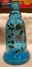 Georgous Hand Painted Flowers on Turquoise Bell Shaped Pontiled Barber Bottle