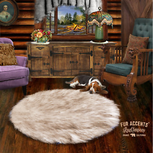 Russian Wolf Faux Fur Round Area Rug White with Brown Tips Shag