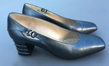 Clarks K Court Shoe 5.5 Pewter Metallic Leather Mid Block Heel Office Smart 38.5