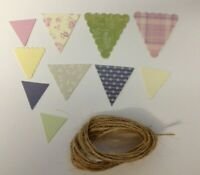 Floral Craft Bunting Flags on Jute String 2.5m Embellishments Craft Card making
