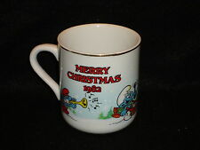 SMURFS MERRY CHRISTMAS 1982 - THE SMURF CAROLERS Tea COFFEE MUG Peyo Exc. Cond !