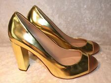 J Crew Etta Cap Toe Metallic Gold Leather Pumps Size 7 High-Heels $248 99113