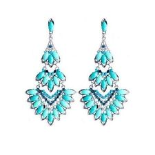 Fashion Earrings Women Crystal Mosaic Bohemian Glamor Chandelier Tortoise Blue