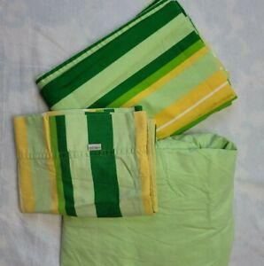 Izod Green Yellow Stripe Twin Sheet Set Flat Fitted Pillowcase Cotton Blend