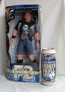 "WWF/WWE Stone Cold Steve Austin 12"" Figure new & an empty Stone Cold Beer can"