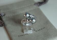 David Yurman 925 Silver Cable Tahitian Gray Pearl Diamond Bypass Ring Sz 5.75-6