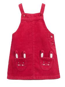 New JOHN LEWIS Girls Raspberry Pink 100% Organic Cotton Cord Pinny Dress 3/4 yrs