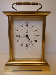CARRIAGE CLOCK PENDULE OFFICIER SIGNED JAZZ FRANCE GILDED VINTAGE 1980s