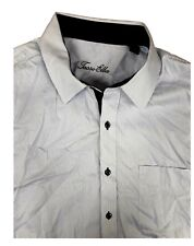 Tasso Elba 100% Cotton Blue Striped Long Sleeve Dress Shirt XL