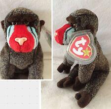 "New 1999 Ty Beanie Baby ""Cheeks"" Baboon Monkey Plush Stuffed Animal 8.25"" Cute"