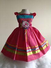 Girls Dress Pink Size 4 Pique 100% Cotton Lined Birthday Handmade Wedding Dressy