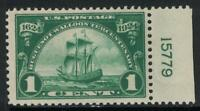 Scott 614- MH Plate Number Single- 1c Huguenot Walloon Issue- unused mint PNS