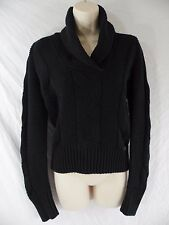 LACOSTE Womens 36 (US 4 / Small) Black Cotton Blend Pullover Cardigan Sweater