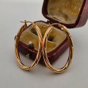 Large 9ct gold oval twist hoop earrings spiral creole dangle earrings hallmarked
