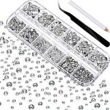 2000 Pieces Flat Back Gems Round Crystal Rhinestones 6 Sizes 1.5-6 Mm Pick Up