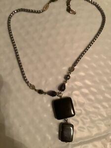 "Sabika  Choker DANGLE Black stones Necklace 16-18"" Retired W 12"