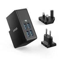 USB Charger Anker 27W 4-Port USB Wall Charger PowerPort 4 Lite with Interchangea