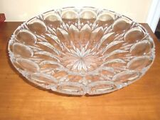 """RARE LEAD CRYSTAL GERMANY ETCHED Floral SCALLOPED RIM VASE/BOWL 13""""D~BEAUTIFUL~"""