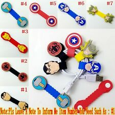 1PCS Kids Cartoon Hero Logo Earphone Wire Cord Winder Wrap Organizer Holder