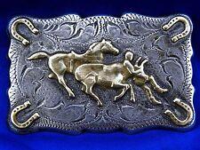 hand engraved , sterling STEER WRESTLING BELT BUCKLE