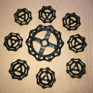 9 Heavy New Old Stock Gate Valve Handles Steampunk Industrial All Black Nice