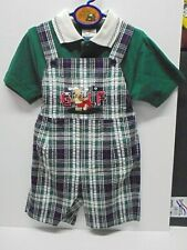 Golf Plaid Overalls Polo Shirt Boys Outfit 2 Piece Size 4T Clothes