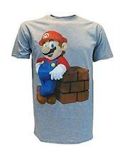 "Large 42"" Official Nintendo Bioworld Super Mario T Shirt Grey Marl"