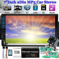 """2021 Lens Double 2Din 7"""" Car Stereo Radio MP5 Player In Dash BT MP3 + LED CAMERA"""