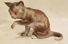 Dresden Porcelain Cat Figurine Gray Brown