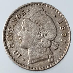 1897-P Dominican Republic 10 Centavos Silver Coin in AU Condition KM #13