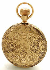 New Columbus 16-Size 14K Gold Beautifully Engraved Hunter Case Pocket Watch
