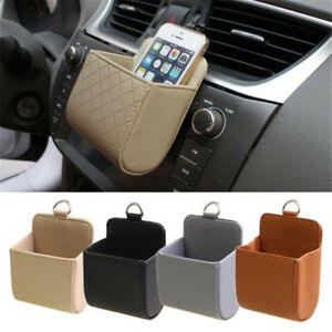 Car Air Outlet Trash Box PU Leather Mobile Phone Holder Multi-Function Hanging