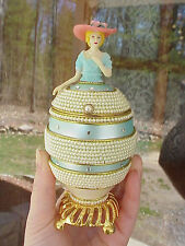 REAL Decorated Carved Goose Egg Jewelry/Trinket Lady Music Box Collectible