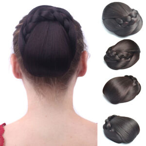 Women Wigs Braided Updo Cover Clip in Hair Bun Chignon Donut Roller Hairpieces