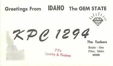 Filer Id~Qsl Greetings From The Gem State (Diamond) Sparky & Thelma Tucker 1960s