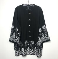 Citron Santa Monica Size 3X Embroidered Bell Sleeve Top Floral Bamboo Black
